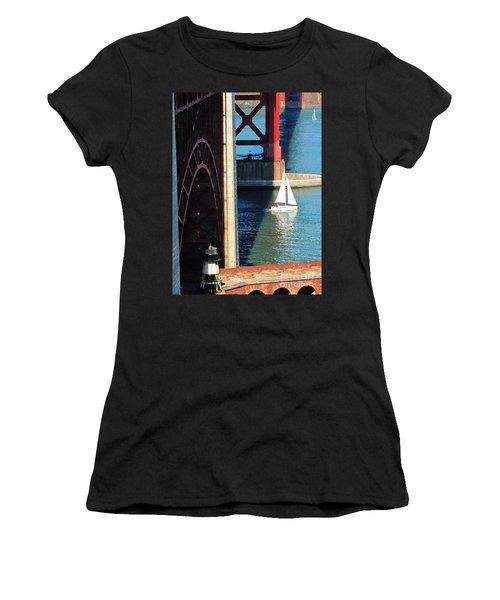 Sail Boat Passes Beneath The Golden Gate Bridge Women's T-Shirt (Athletic Fit)