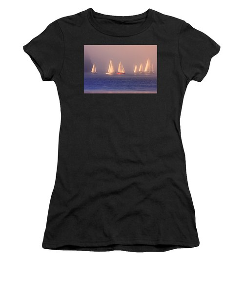 Sailing On A Misty Ocean Women's T-Shirt (Athletic Fit)