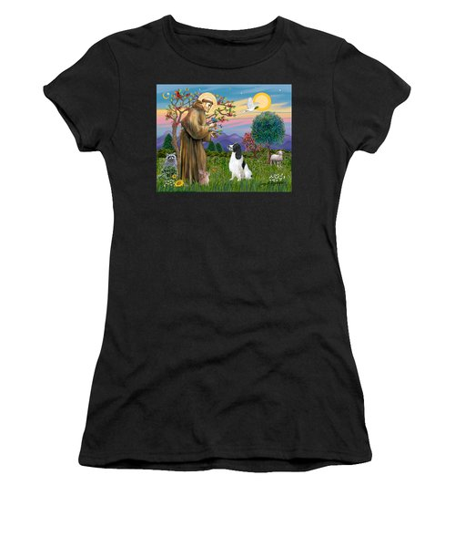 Saint Francis Blesses An English Springer Spaniel Women's T-Shirt