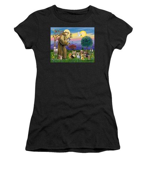 Saint Francis Blesses Seven Yorkies Women's T-Shirt (Athletic Fit)