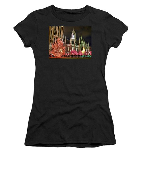 Women's T-Shirt (Junior Cut) featuring the photograph Salt Lake Temple - 3 by Ely Arsha