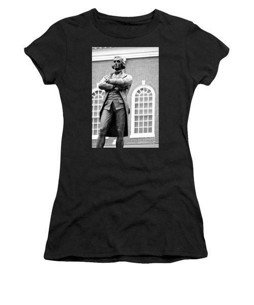 Samuel Adams Statue State House Boston Ma Black And White Women's T-Shirt