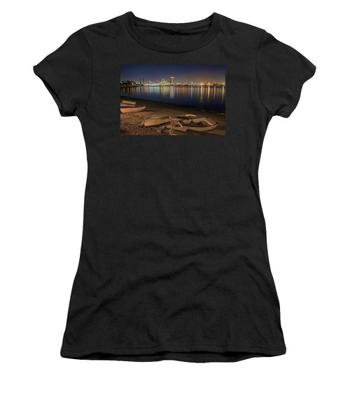 Women's T-Shirt (Junior Cut) featuring the photograph San Diego Harbor Lights by Gary Holmes