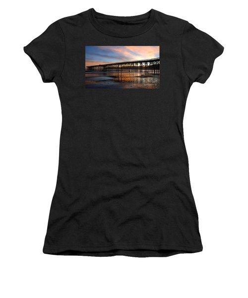 Women's T-Shirt (Junior Cut) featuring the photograph San Simeon Pier by Vivian Christopher
