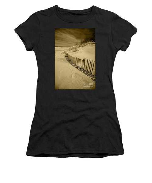 Sand Dunes And Fence Women's T-Shirt (Athletic Fit)