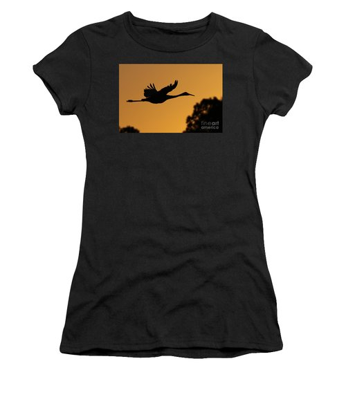 Sandhill Crane In Flight Women's T-Shirt