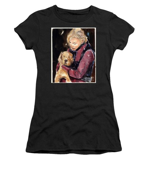 Women's T-Shirt (Junior Cut) featuring the painting Sandy Grace And Me by Molly Poole