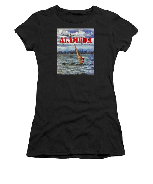 Alameda Santa's Greetings Women's T-Shirt (Athletic Fit)
