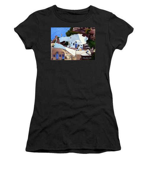 Santorini Cave Homes Women's T-Shirt (Junior Cut) by Mike Robles