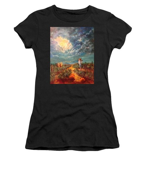Scarecrow, Moon, Pumpkins And Mystery Women's T-Shirt