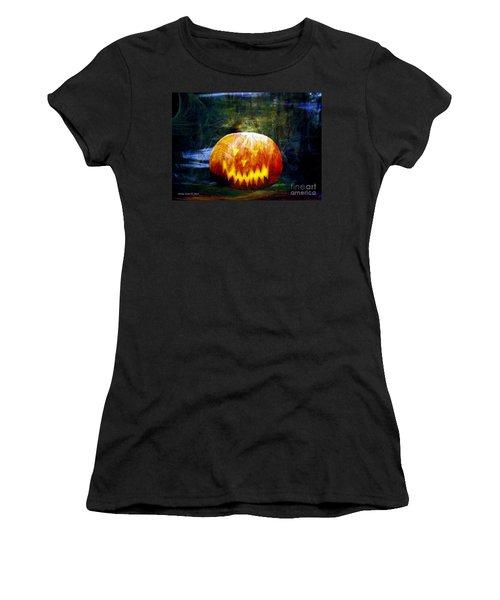 Scary Pumpkin Halloween Art Women's T-Shirt (Junior Cut) by Annie Zeno