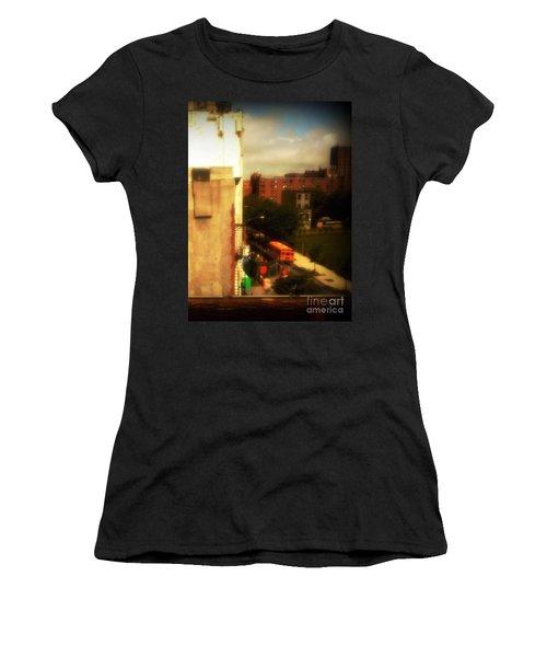 Women's T-Shirt (Junior Cut) featuring the photograph School Bus - New York City Street Scene by Miriam Danar