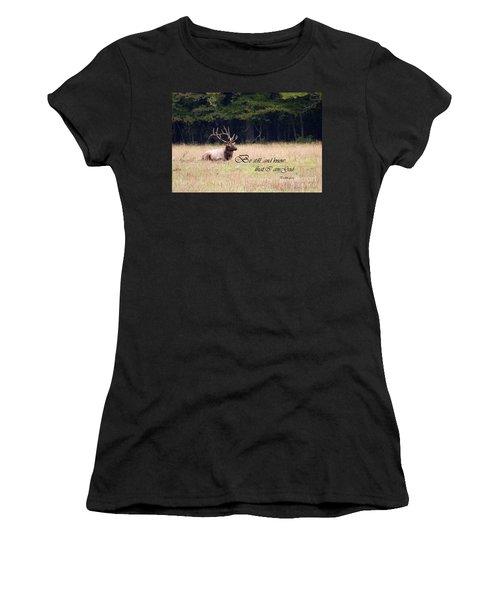 Scripture Photo With Elk Sitting Women's T-Shirt