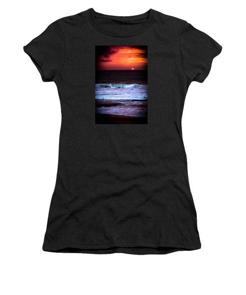 Women's T-Shirt (Junior Cut) featuring the photograph Sea Foam Under Fire Sky by Edgar Laureano