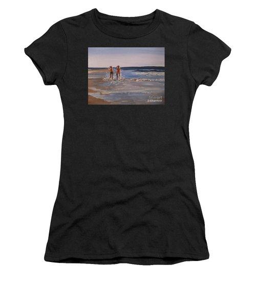 Sea Splashing On The Beach Women's T-Shirt (Athletic Fit)