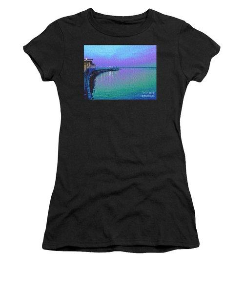 Painterly Seascape Purple Flurry Women's T-Shirt (Athletic Fit)