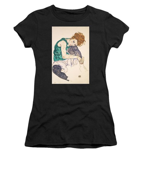 Seated Woman With Legs Drawn Up. Adele Herms Women's T-Shirt (Athletic Fit)