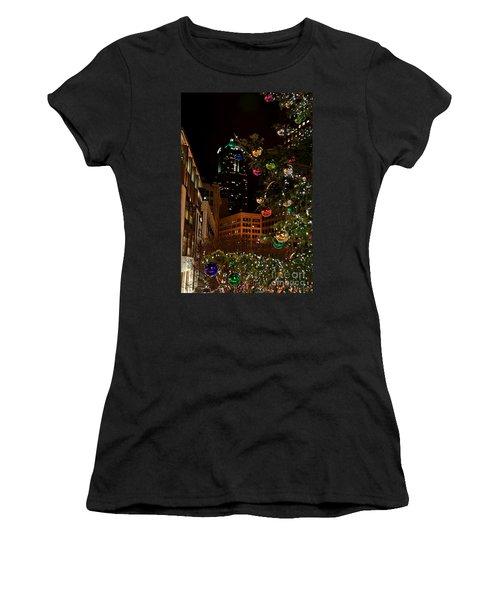 Seattle Downtown Christmas Time Art Prints Women's T-Shirt (Athletic Fit)