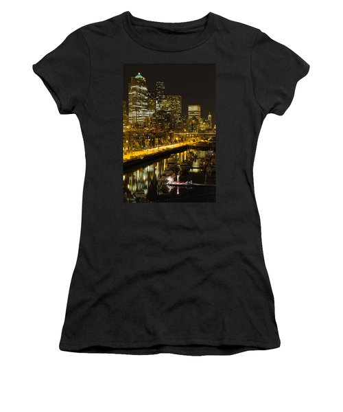 Women's T-Shirt (Junior Cut) featuring the photograph Seattle Downtown Waterfront Skyline At Night by JPLDesigns
