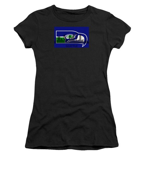 Seattle Seahawks On Seattle Skyline Women's T-Shirt (Athletic Fit)