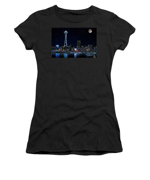 Seattle Skyline At Night With Full Moon Women's T-Shirt (Junior Cut) by Valerie Garner