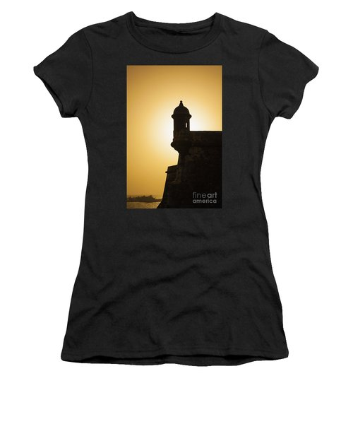 Sentry Box At Sunset At El Morro Fortress In Old San Juan Women's T-Shirt (Athletic Fit)