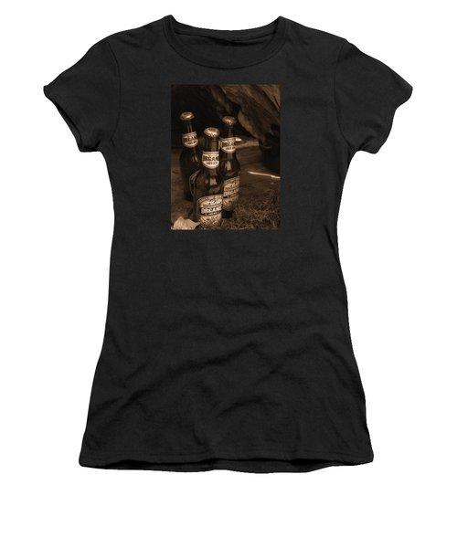 Women's T-Shirt (Junior Cut) featuring the photograph Sepia Bottles by Rachel Mirror