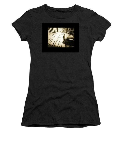 Sepia - Nature Paws In The Snow Women's T-Shirt (Junior Cut) by Absinthe Art By Michelle LeAnn Scott