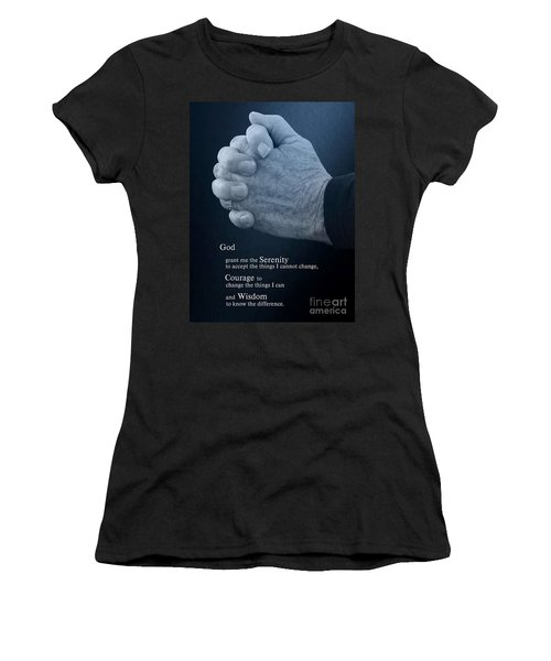 Women's T-Shirt (Junior Cut) featuring the photograph Serenity Prayer Finding Peace by Ella Kaye Dickey