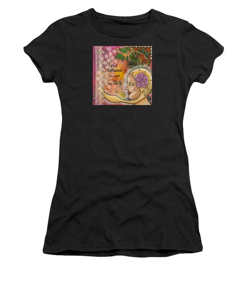 She Believed She Could So She Did Inspirational Mixed Media Folk Art Women's T-Shirt (Athletic Fit)