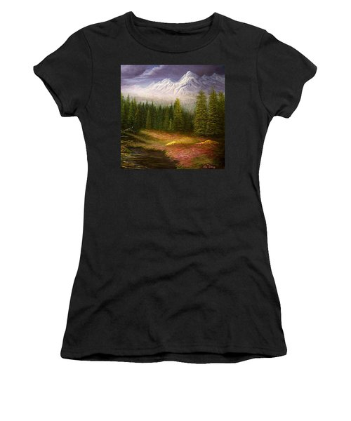 Sierra Spring Storm Women's T-Shirt (Junior Cut) by Loxi Sibley