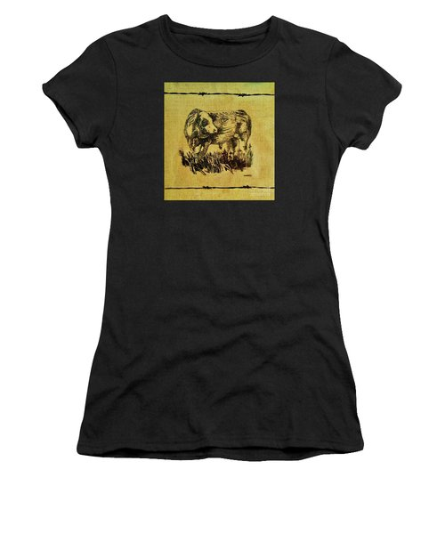 Women's T-Shirt (Junior Cut) featuring the drawing Simmental Bull 12 by Larry Campbell