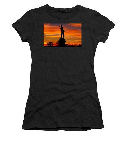 Women's T-Shirt (Junior Cut) featuring the photograph Sky Fire - 128th Pennsylvania Volunteer Infantry A1 Cornfield Avenue Sunset Antietam by Michael Mazaika