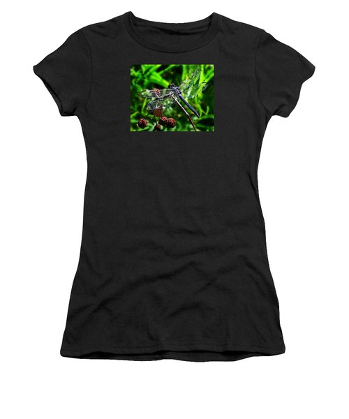 Women's T-Shirt (Junior Cut) featuring the photograph Slaty Skimmer Dragonfly by William Tanneberger