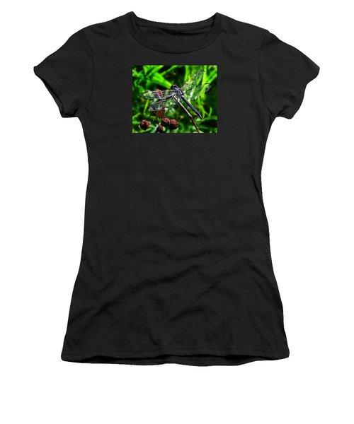 Slaty Skimmer Dragonfly Women's T-Shirt (Junior Cut) by William Tanneberger