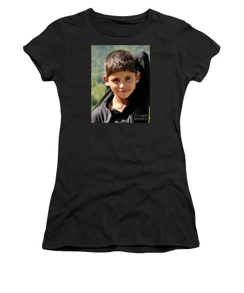 Women's T-Shirt (Junior Cut) featuring the photograph Smiling Boy In The Swat Valley - Pakistan by Imran Ahmed