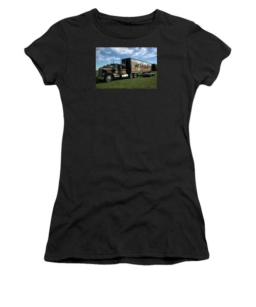 Smokey And The Bandit Tribute 1973 Kenworth W900 Black And Gold Semi Truck Women's T-Shirt (Junior Cut) by Tim McCullough