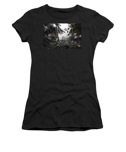 Snow In Trees At Narada Falls Women's T-Shirt