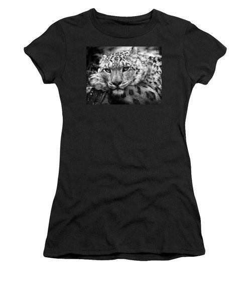 Snow Leopard In Black And White Women's T-Shirt