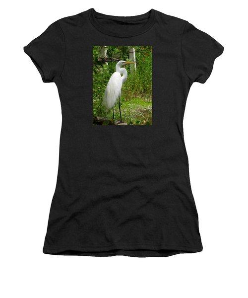 Snowy Egret Women's T-Shirt (Athletic Fit)