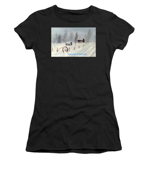 Snowy Road Women's T-Shirt (Athletic Fit)