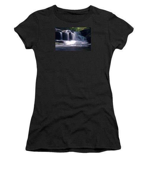 Soft Light Dunloup Falls Women's T-Shirt (Junior Cut) by Shelly Gunderson