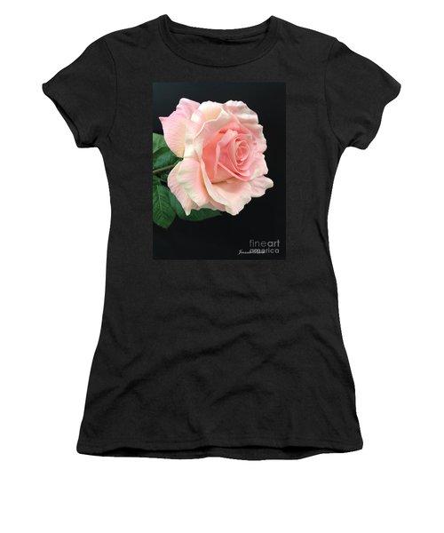 Women's T-Shirt (Junior Cut) featuring the photograph Soft Pink Rose 1 by Jeannie Rhode