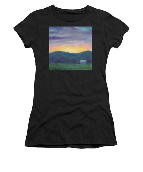 Blue Yellow Nocturne Solitary Landscape Women's T-Shirt (Athletic Fit)