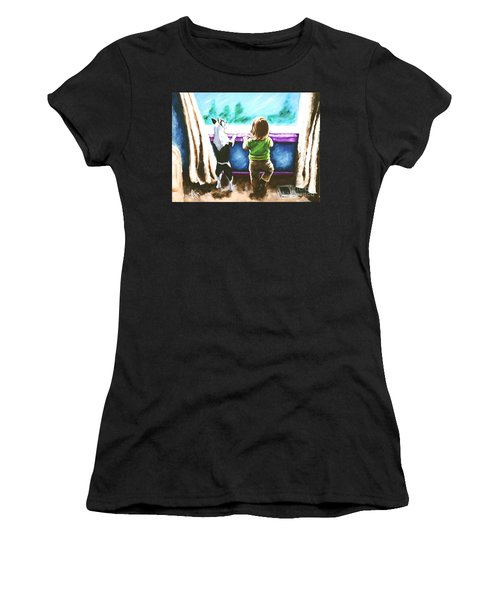 Waiting For Daddy Women's T-Shirt (Athletic Fit)