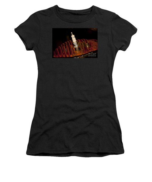 Women's T-Shirt (Junior Cut) featuring the photograph Sparkplug And Rusty Cooling Fins by Wilma  Birdwell