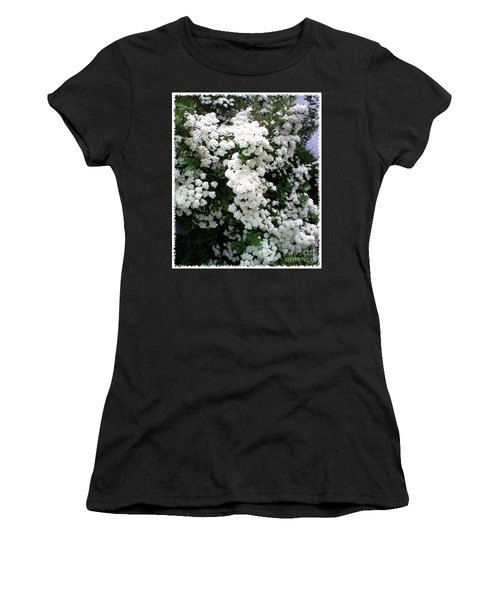 Women's T-Shirt (Junior Cut) featuring the photograph Spirea Bridal Veil by Barbara Griffin