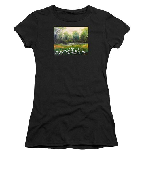 Women's T-Shirt (Junior Cut) featuring the painting Spring by Vesna Martinjak