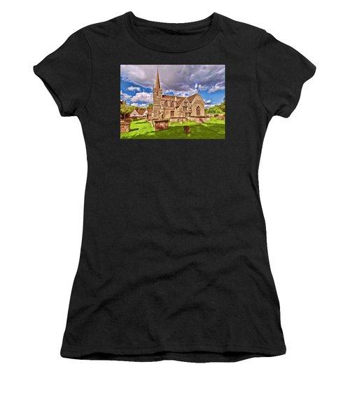 Women's T-Shirt featuring the digital art St Cyriac Church Lacock by Paul Gulliver