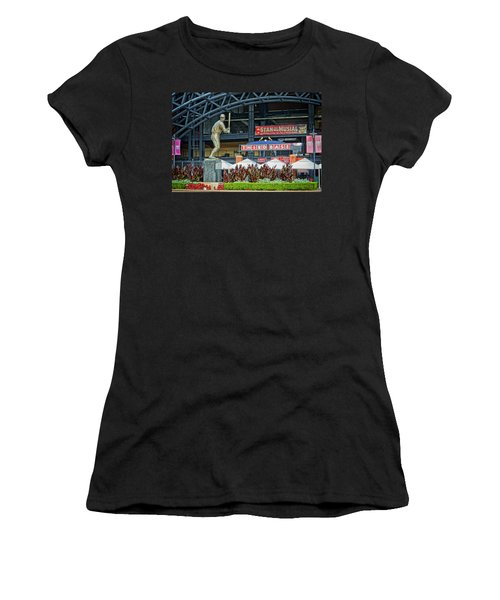 Stan Musial Statue At Busch Stadium St Louis Mo Women's T-Shirt (Junior Cut) by Greg Kluempers